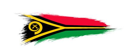 Flag of Vanuatu in grunge brush stroke, vector grunge illustration.