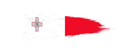 Flag of Malta in grunge brush stroke, vector grunge illustration. 일러스트