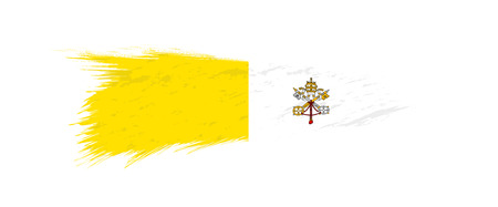Flag of Vatican City in grunge brush stroke, vector grunge illustration. Stock Illustratie