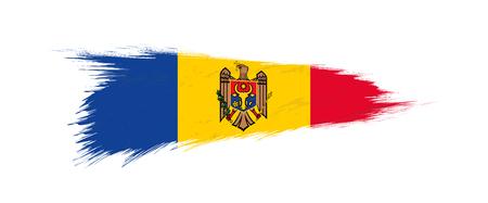 Flag of Moldova in grunge brush stroke, vector grunge illustration.