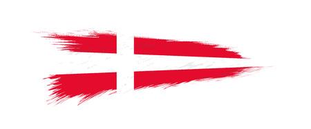 Flag of Denmark in grunge brush stroke, vector grunge illustration.