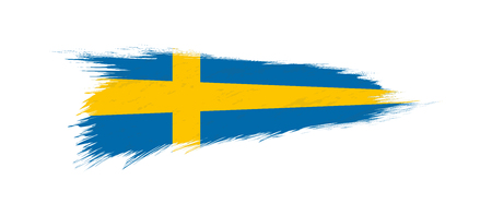 Flag of Sweden in grunge brush stroke, vector grunge illustration.