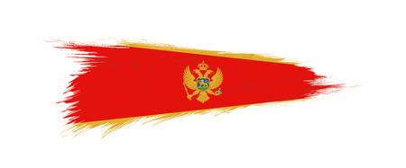 Flag of Montenegro in grunge brush stroke, vector grunge illustration.
