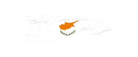 Flag of Cyprus in grunge brush stroke, vector grunge illustration.