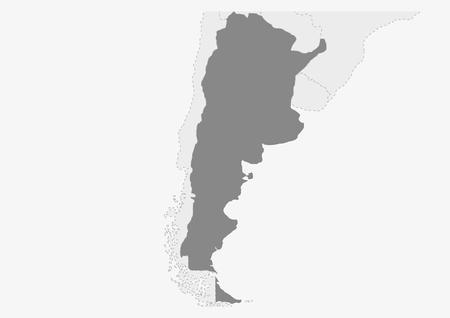 Map of America with highlighted Argentina map, gray map of Argentina with neighboring countries