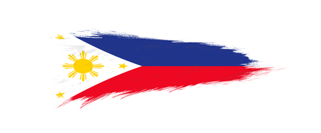 Flag of Philippines in grunge brush stroke, vector grunge illustration. 矢量图像
