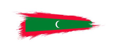 Flag of Maldives in grunge brush stroke, vector grunge illustration.