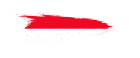Flag of Indonesia in grunge brush stroke, vector grunge illustration. Иллюстрация
