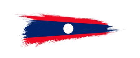 Flag of Laos in grunge brush stroke, vector grunge illustration.