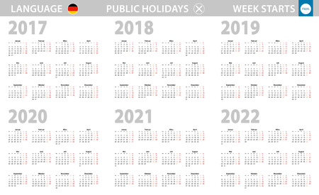 Calendar in German language for year 2017, 2018, 2019, 2020, 2021, 2022. Week starts from Monday. Vector calendar.