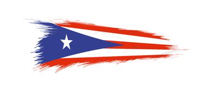 Flag of Puerto Rico in grunge brush stroke, vector grunge illustration. Vetores