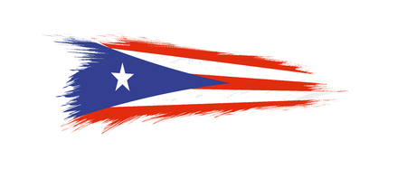 Flag of Puerto Rico in grunge brush stroke, vector grunge illustration.