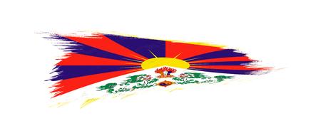 Flag of Tibet in grunge brush stroke, vector grunge illustration.  イラスト・ベクター素材