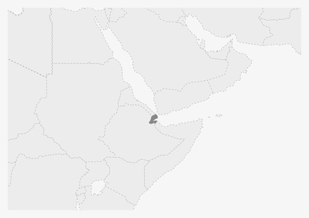 Map of Africa with highlighted Djibouti map, gray map of Djibouti with neighboring countries