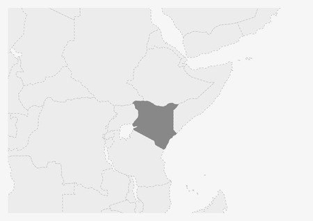 Map of Africa with highlighted Kenya map, gray map of Kenya with neighboring countries