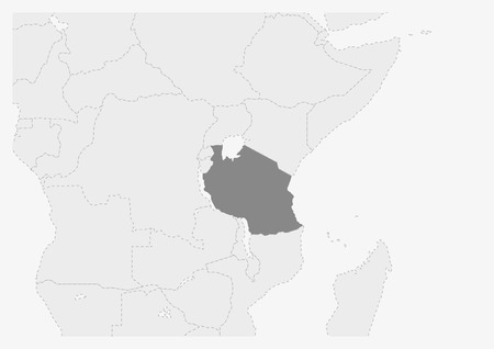 Map of Africa with highlighted Tanzania map, gray map of Tanzania with neighboring countries
