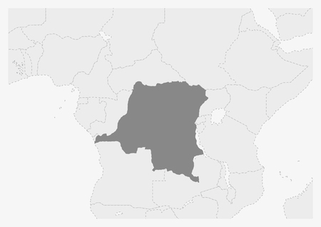 Map of Africa with highlighted DR Congo map, gray map of DR Congo with neighboring countries Illustration