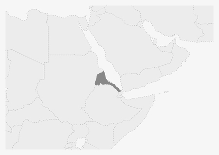 Map of Africa with highlighted Eritrea map, gray map of Eritrea with neighboring countries