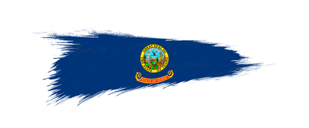 Flag of Idaho US State in grunge brush stroke, vector grunge illustration.