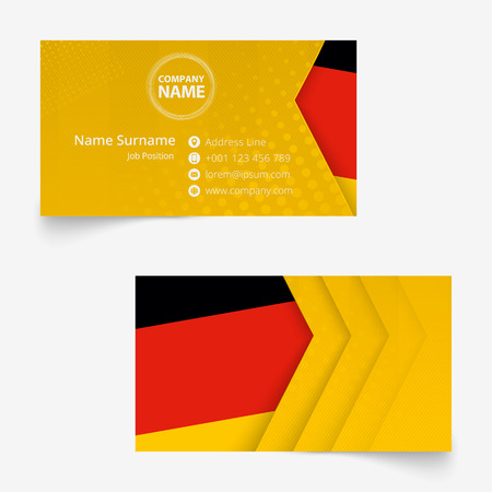 Germany Flag Business Card, standard size (90x50 mm) business card template with bleed under the clipping mask.