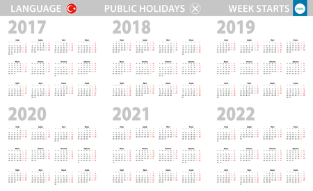 Calendar in Turkish language for year 2017, 2018, 2019, 2020, 2021, 2022. Week starts from Monday. Vector calendar.