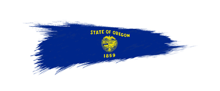 Flag of Oregon US State in grunge brush stroke, vector grunge illustration. Ilustração