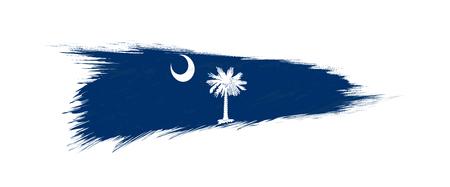 Flag of South Carolina US State in grunge brush stroke, vector grunge illustration.