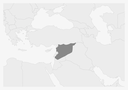 Mapa de Oriente Medio con el mapa de Siria resaltado, mapa gris de Siria con los países vecinos