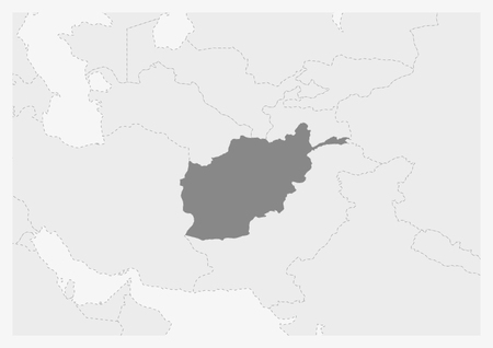 Map of Asia with highlighted Afghanistan map, gray map of Afghanistan with neighboring countries