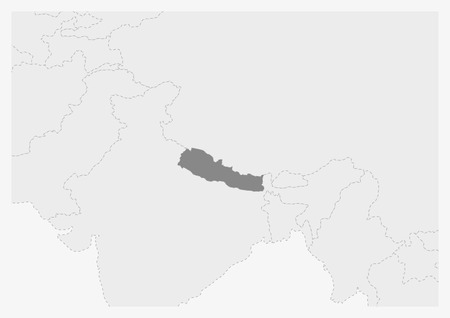 Map of Asia with highlighted Nepal map, gray map of Nepal with neighboring countries