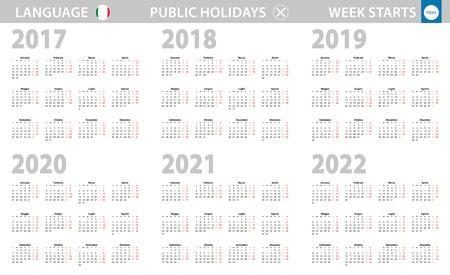 Calendar in Italian language for year 2017, 2018, 2019, 2020, 2021, 2022. Week starts from Monday. Vector calendar.