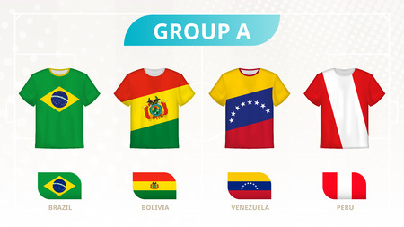 Football t-shirt with flags, teams of group A: Brazil, Bolivia, Venezuela, Peru. 向量圖像