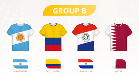 Fußball-T-Shirt mit Flaggen, Mannschaften der Gruppe B: Argentinien, Kolumbien, Paraguay, Katar.