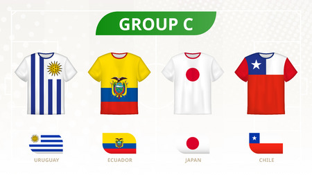 Football t-shirt with flags, teams of group C: Uruguay, Ecuador, Japan, Chile.