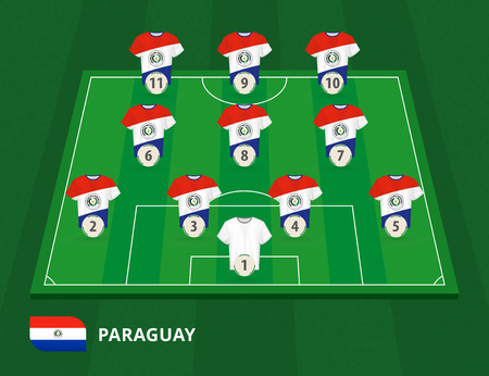 Football field with Paraguay team lineup, lineups formation 4-3-3 on half football field.