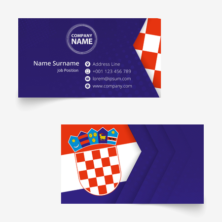 Croatia Flag Business Card, standard size (90x50 mm) business card template with bleed under the clipping mask.