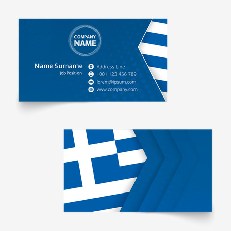 Greece Flag Business Card, standard size (90x50 mm) business card template with bleed under the clipping mask.