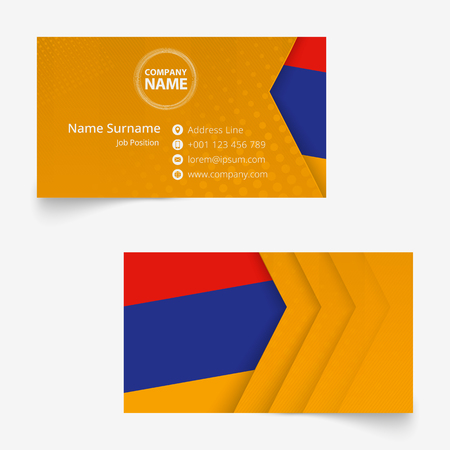 Armenia Flag Business Card, standard size (90x50 mm) business card template with bleed under the clipping mask.