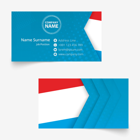 Luxembourg Flag Business Card, standard size (90x50 mm) business card template with bleed under the clipping mask.