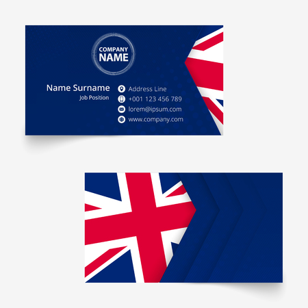 United Kingdom Flag Business Card, standard size (90x50 mm) business card template with bleed under the clipping mask. Stock Vector - 122518071