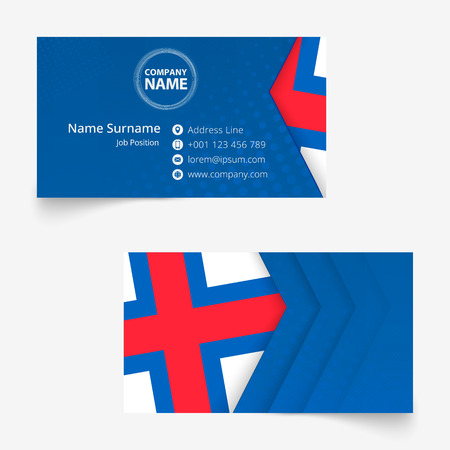 Faroe Islands Flag Business Card, standard size (90x50 mm) business card template with bleed under the clipping mask.