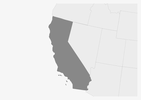 Map of USA with highlighted California map, gray map of US State California with neighboring countries
