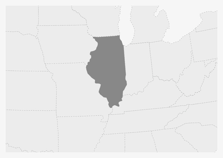 Map of USA with highlighted Illinois map, gray map of US State Illinois with neighboring countries