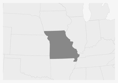 Map of USA with highlighted Missouri map, gray map of US State Missouri with neighboring countries