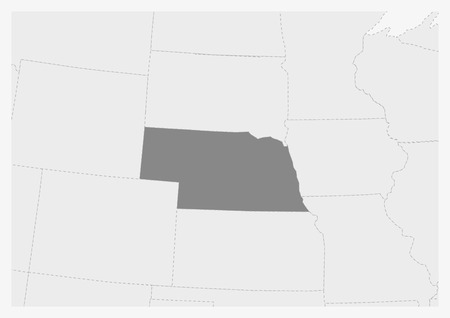 Map of USA with highlighted Nebraska map, gray map of US State Nebraska with neighboring countries