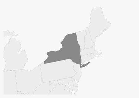 Map of USA with highlighted New York map, gray map of US State New York with neighboring countries
