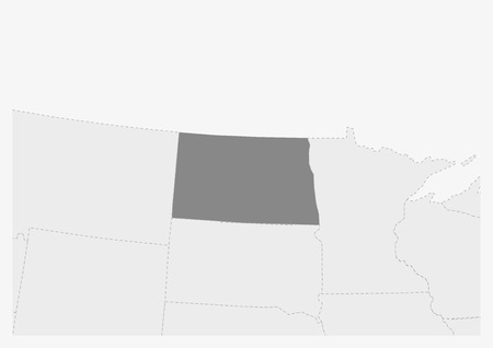 Map of USA with highlighted North Dakota map, gray map of US State North Dakota with neighboring countries Illustration