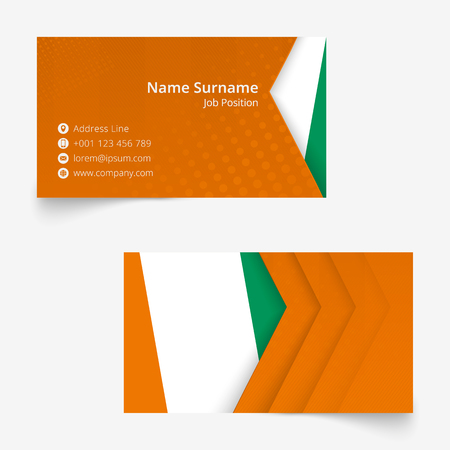 Ivory Coast Flag Business Card, standard size (90x50 mm) business card template with bleed under the clipping mask. Vectores