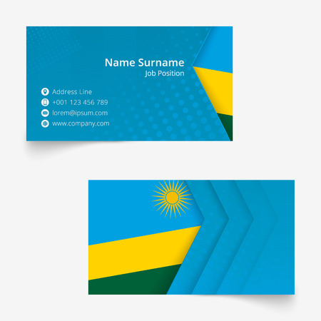 Rwanda Flag Business Card, standard size (90x50 mm) business card template with bleed under the clipping mask. Illustration