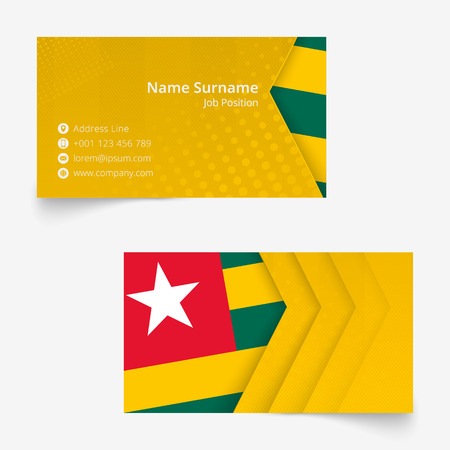 Togo Flag Business Card, standard size (90x50 mm) business card template with bleed under the clipping mask.